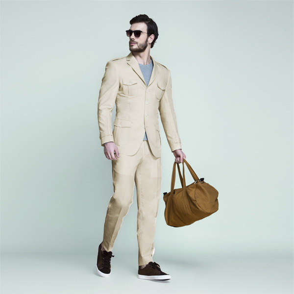 Kruger Khaki Cream Leisure Suit-mbview-1