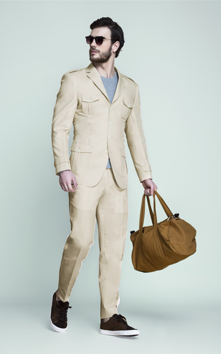 Kruger Khaki Cream Leisure Suit