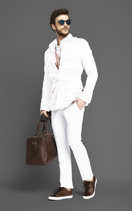 Napoli White Military Suit