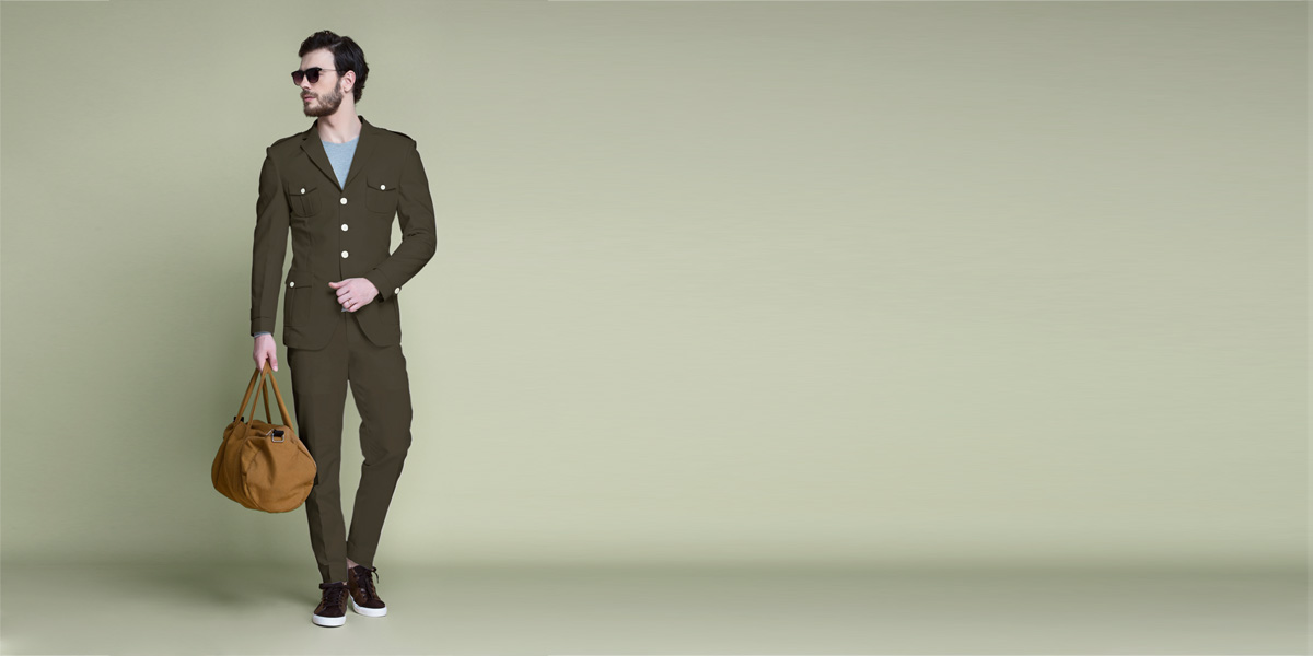 Taupe Green Leisure Suit- view-1
