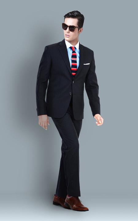 Premium Chalk Stripe Suit