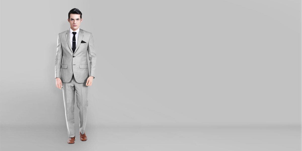 Light Grey Wool Silk Suit- view-1