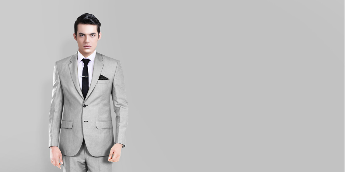 Light Grey Wool Silk Suit- view-2