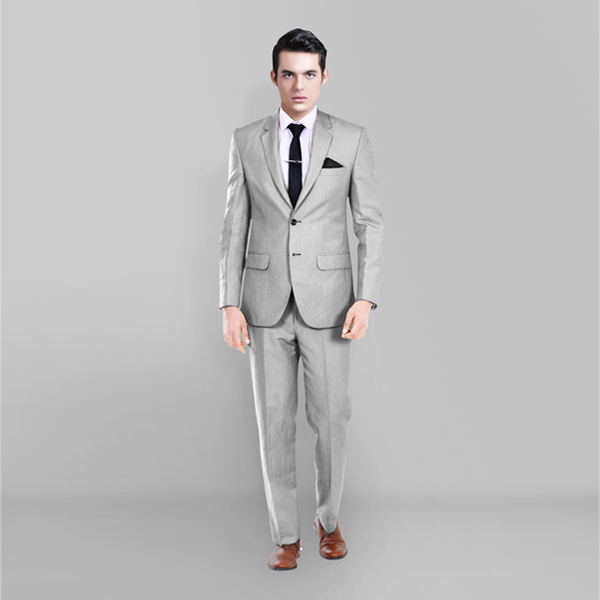 Light Grey Wool Silk Suit-mbview-1