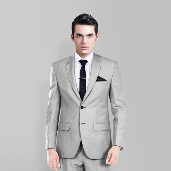 Light Grey Wool Silk Suit-mbview-2