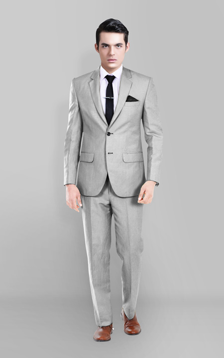 Light Grey Wool Silk Suit