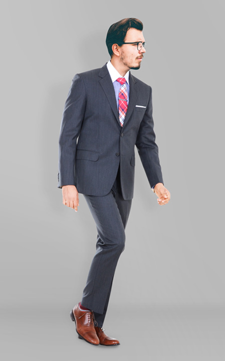 130s Grey Herringbone Suit