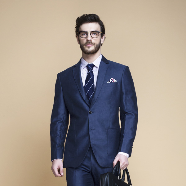 Soho Blue Linen Wool Suit-mbview-3