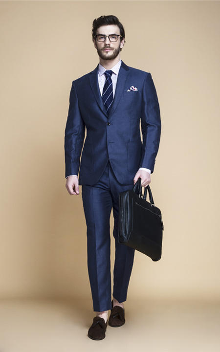 Soho Blue Linen Wool Suit