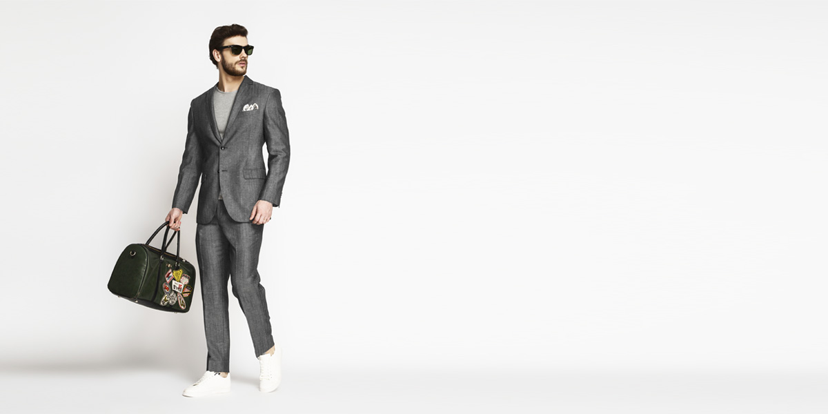 Napoli Grey Linen Wool Suit- view-1