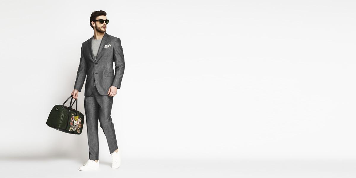 Napoli Grey Linen Wool Suit- view-1