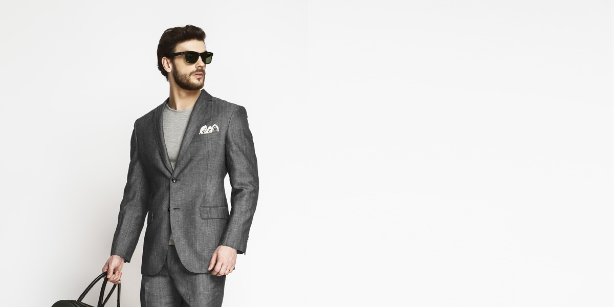 Napoli Grey Linen Wool Suit- view-3