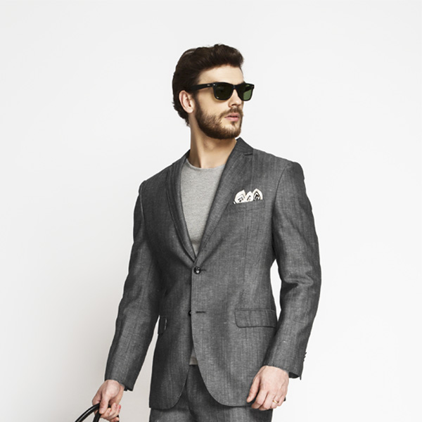 Napoli Grey Linen Wool Suit-mbview-3