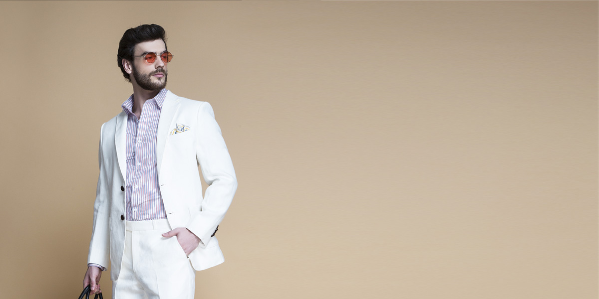 Cardiff Off White Linen Suit- view-3