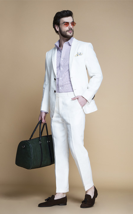 Cardiff Off White Linen Suit