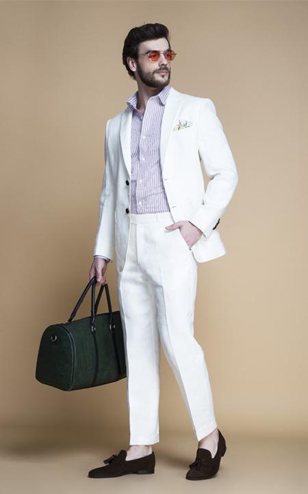 b7b65bc6b1 Cardiff Off White Linen Suit