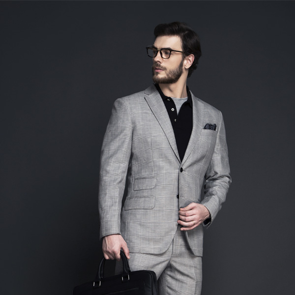 Oxford Grey Linen Checks Suit-mbview-3