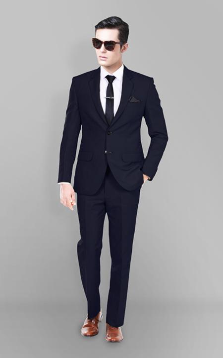 Presidential Navy Linen Suit