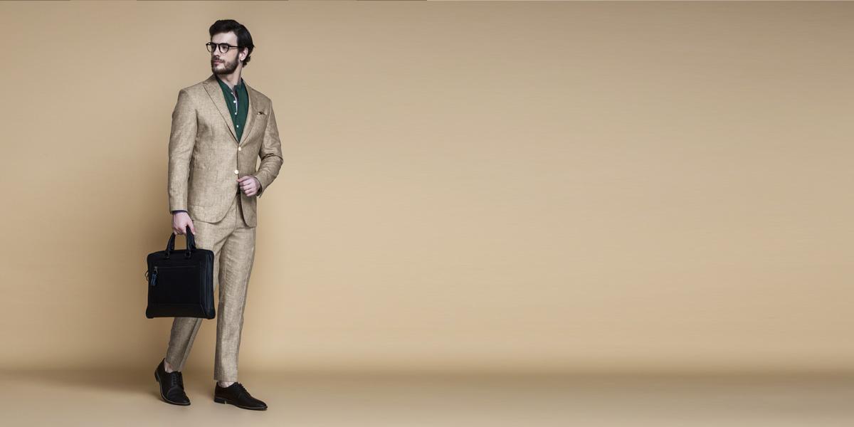 Khaki Brown Linen Suit- view-1