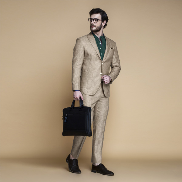 Khaki Brown Linen Suit-mbview-1