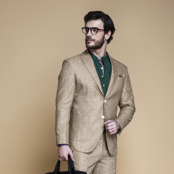 Khaki Brown Linen Suit-mbview-3