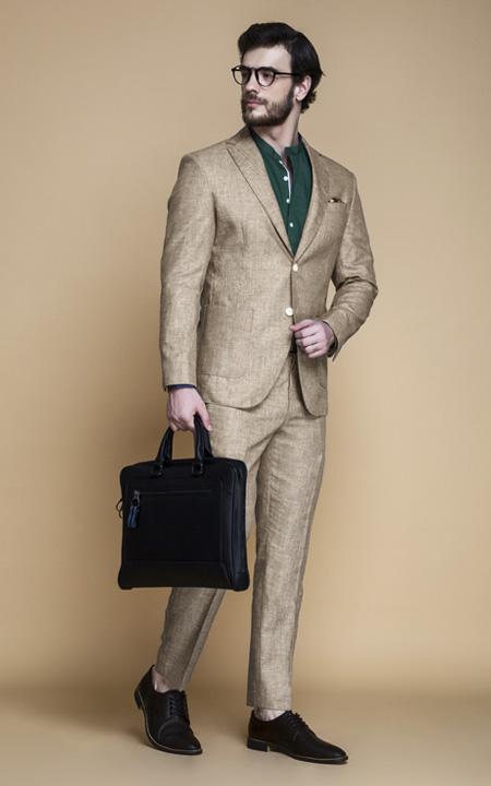 Khaki Brown Linen Suit