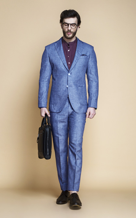 Newport Blue Linen Suit