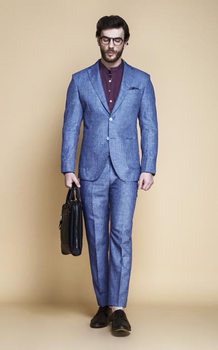 Newport Blue Linen Suit