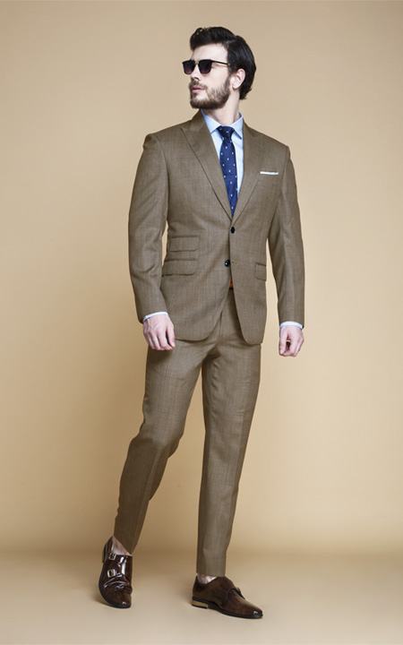 Nalton Brown Nailhead Suit