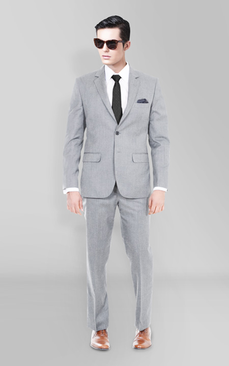 Light Grey Hyde Sharkskin Suit