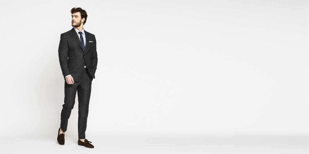 Milano Charcoal Grey Checks Suit- view-3