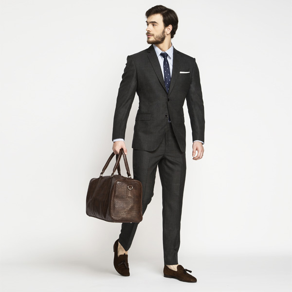 Milano Charcoal Grey Checks Suit-mbview-1