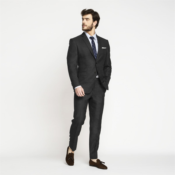 Milano Charcoal Grey Checks Suit-mbview-3