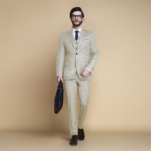 Hampstead Khaki Ecru Flannel Suit-mbview-1
