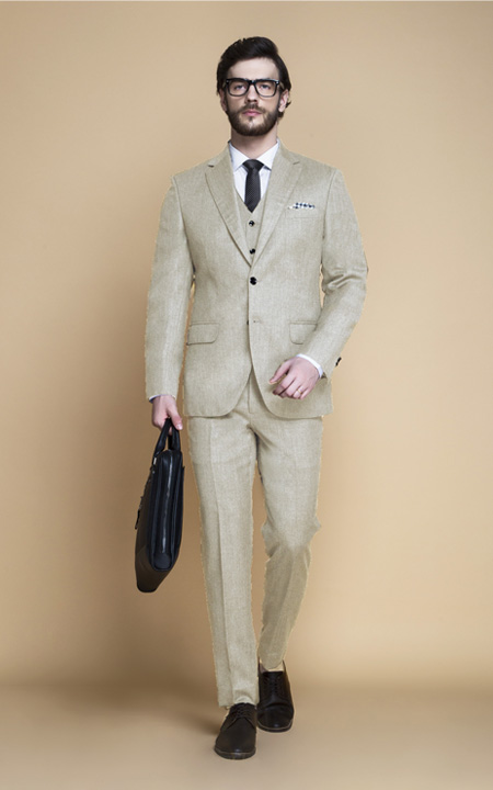 Hampstead Khaki Ecru Flannel Suit