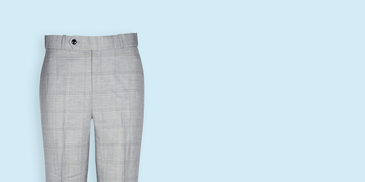 Oxford Linen Checks Custom Pants- view-3