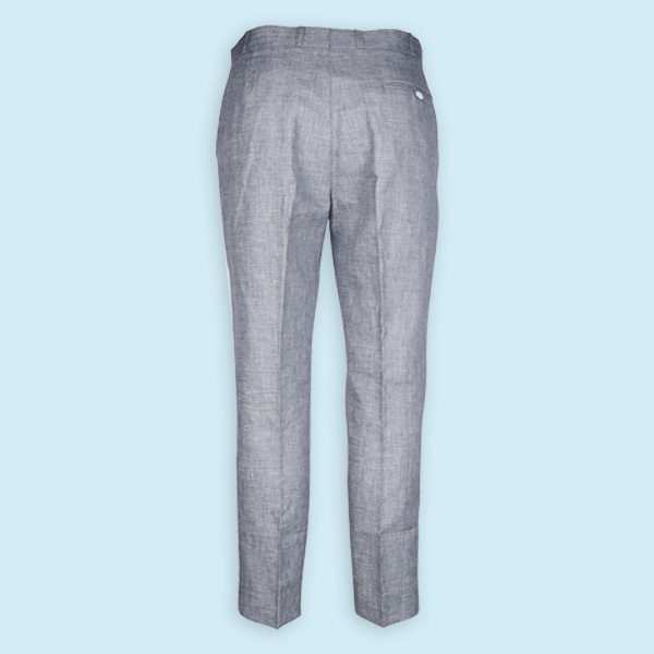 Summery Grey Linen Checks Custom Pants-mbview-2