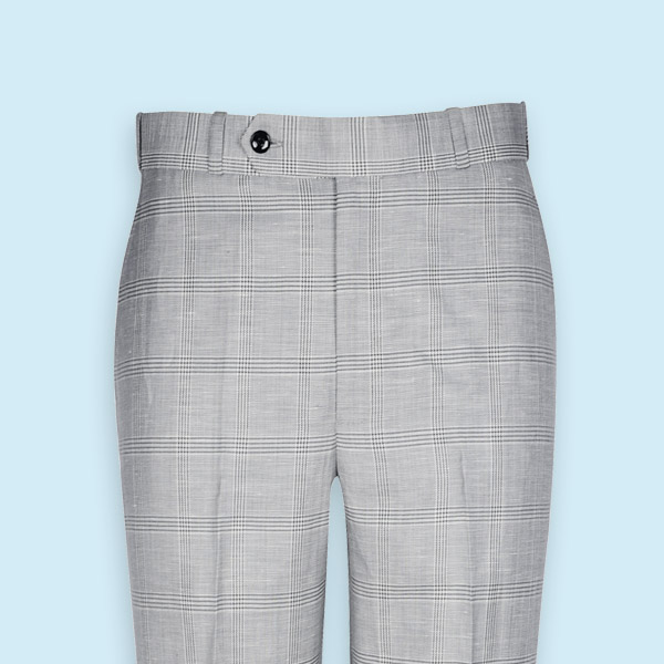 Summery Grey Linen Checks Custom Pants-mbview-3