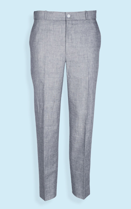 Summery Grey Linen Checks Custom Pants