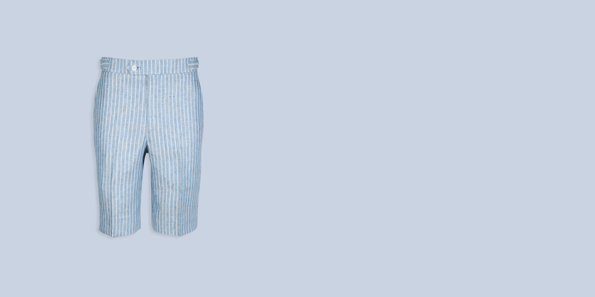 East Hampton Blue Linen Striped Shorts- view-1