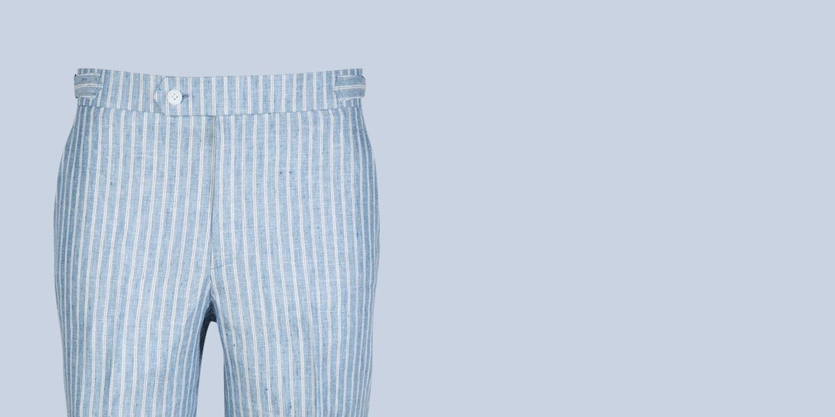 East Hampton Blue Linen Striped Shorts- view-3