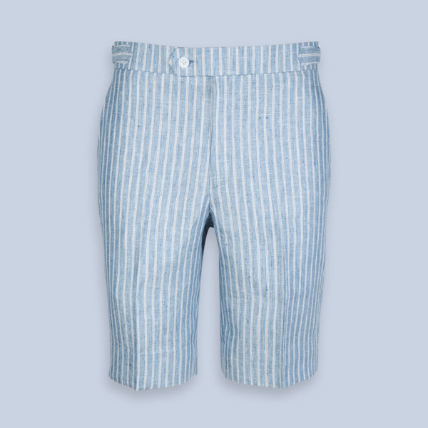 East Hampton Blue Linen Striped Shorts-mbview-1