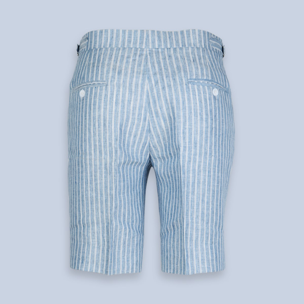 East Hampton Blue Linen Striped Shorts-mbview-2