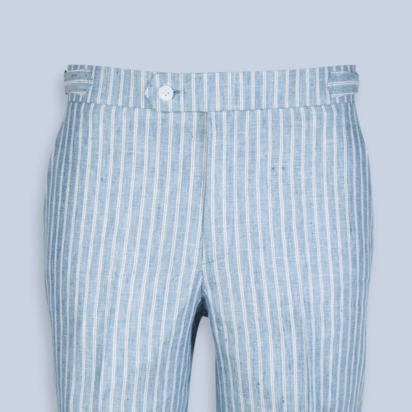 East Hampton Blue Linen Striped Shorts-mbview-3