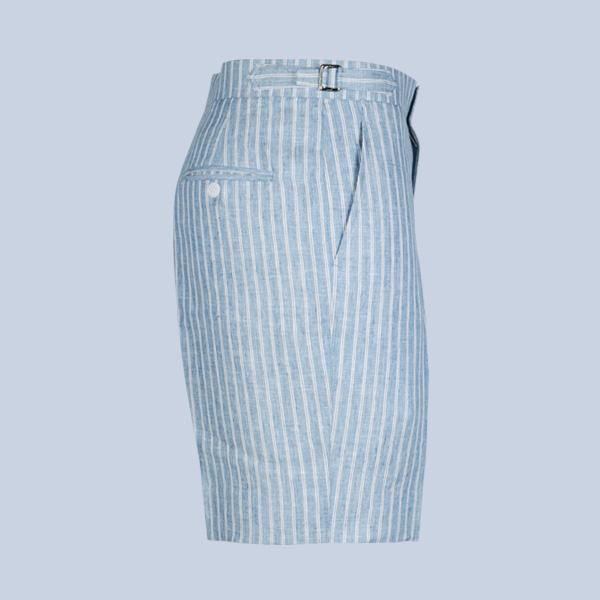 East Hampton Blue Linen Striped Shorts-mbview-4