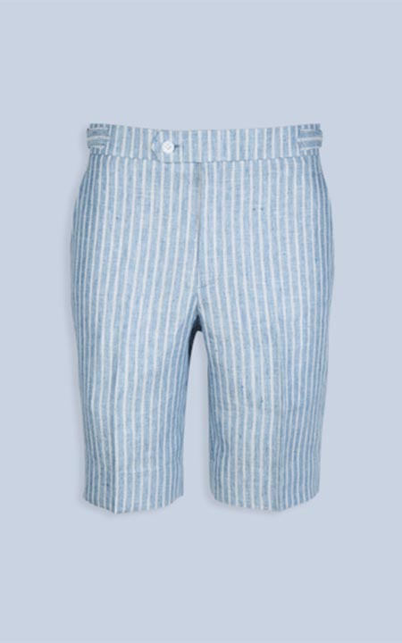 East Hampton Blue Linen Striped Shorts