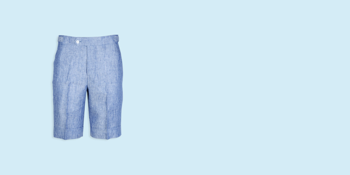 Cape May Slub Blue Linen Shorts- view-1