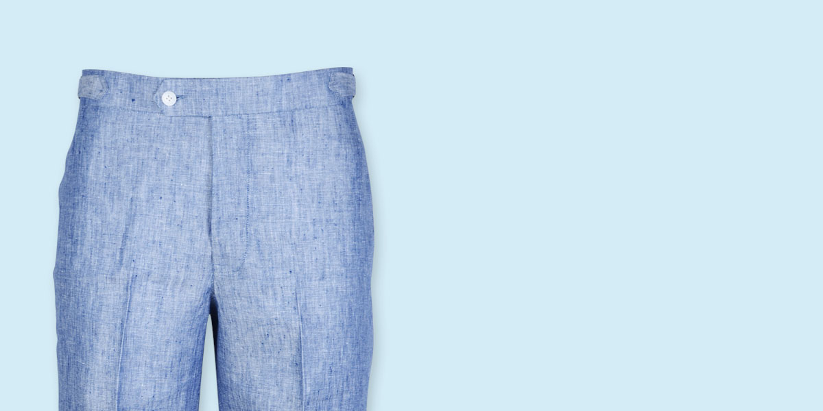 Cape May Slub Blue Linen Shorts- view-3