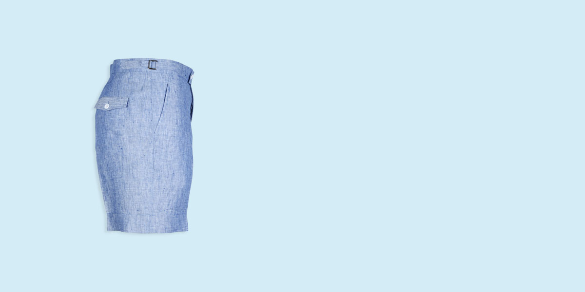 Cape May Slub Blue Linen Shorts- view-4