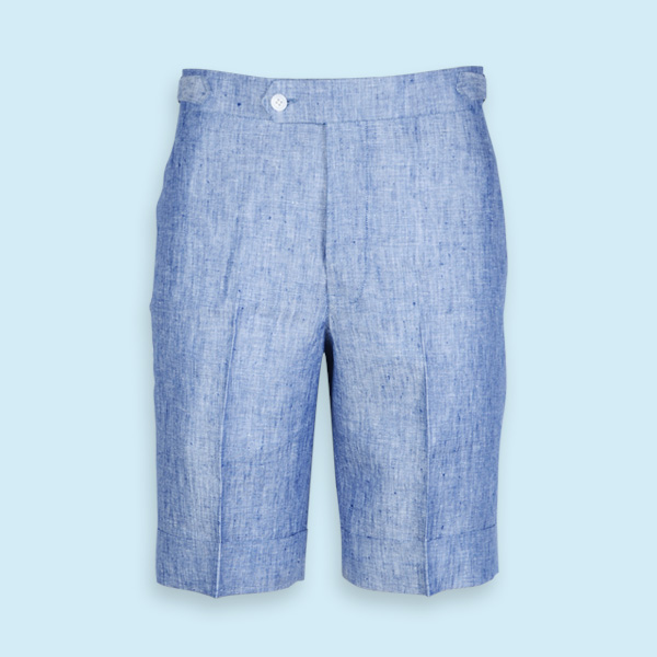 Cape May Slub Blue Linen Shorts-mbview-1